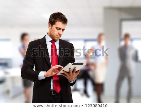 homem · de · negócios · isolado · internet · homem · caderno - foto stock © fuzzbones0