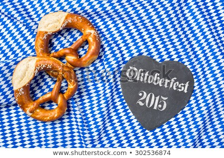 Heart-shaped blackboard with pretzels - Oktoberfest 2015 Stock photo © Zerbor