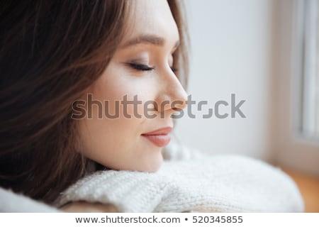 Szépség portré aranyos nő csukott szemmel megérint Stock fotó © deandrobot