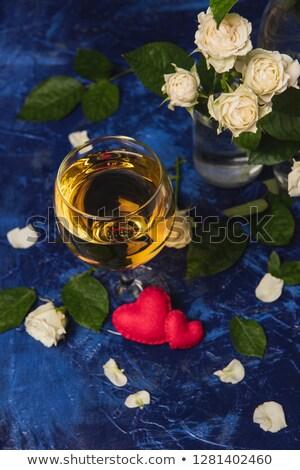 ストックフォト: 2 · 眼鏡 · シャンパン · キャンドル · 黄色 · バラ