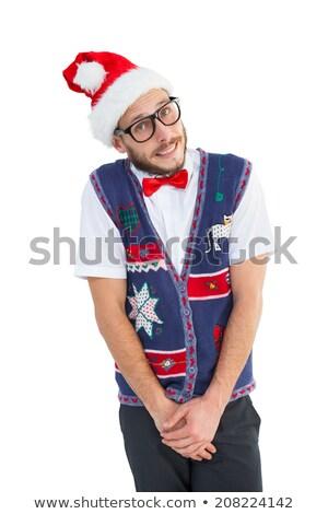Geeky hipster wearing santa hat Stock photo © wavebreak_media