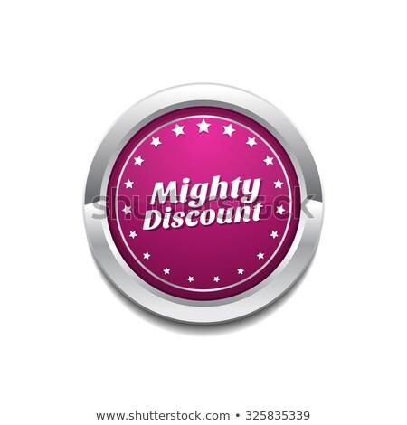 Machtig korting roze vector knop icon Stockfoto © rizwanali3d