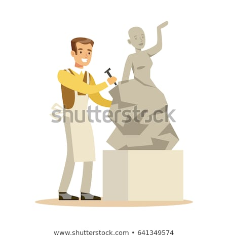 Young woman carving stone statue Stock photo © jordanrusev