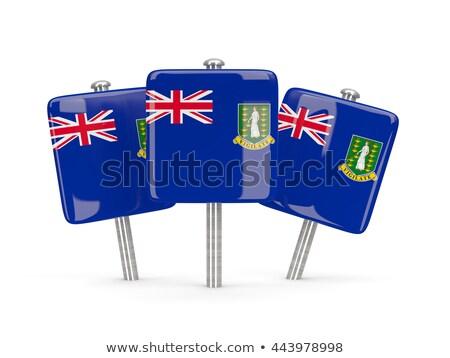 Kare pin bayrak Virgin Adaları İngilizler yalıtılmış Stok fotoğraf © MikhailMishchenko