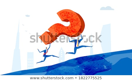 Foto stock: Businesswoman On Rock Mountain With A Question Mark