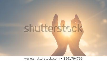 молиться рук вектора треугольник eps10 градиент Сток-фото © kovacevic