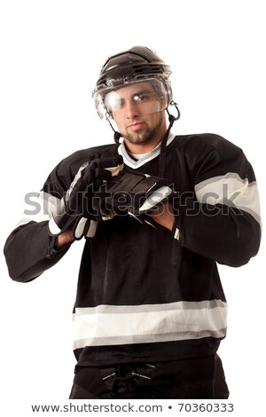 ice hockey player dressing studio shot over white stock photo © nickp37