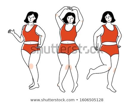 プラスサイズ 女性 下着 ジェスチャー ストックフォト © dolgachov