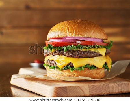 ストックフォト: ダブル · チーズバーガー · マクロ · ショット · チーズ · 肉