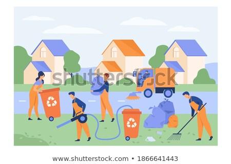 Szemét munkás hordoz hulladék táska építkezés Stock fotó © Voysla