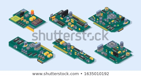 Stock photo: Microchip unit on green plate.
