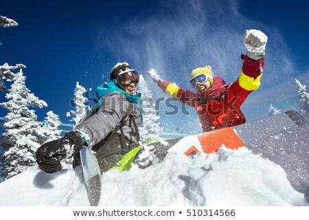 Paar snowboard illustratie meisje sport winter Stockfoto © adrenalina
