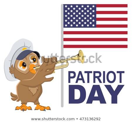 Patriota dia EUA coruja branco boné Foto stock © orensila