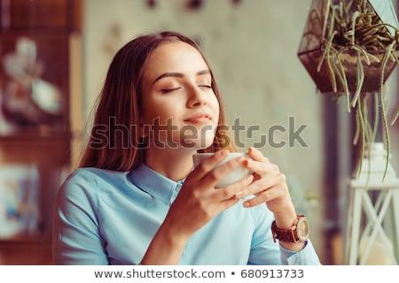 Boldog vonzó nő csukott szemmel iszik csésze tea Stock fotó © deandrobot