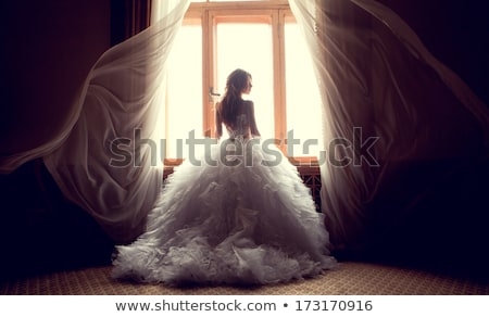 wedding portrait of beautiful bride against a window indoors se stock photo © victoria_andreas