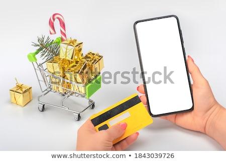 donna · shopping · online · cellulare · primo · piano · mano - foto d'archivio © deandrobot