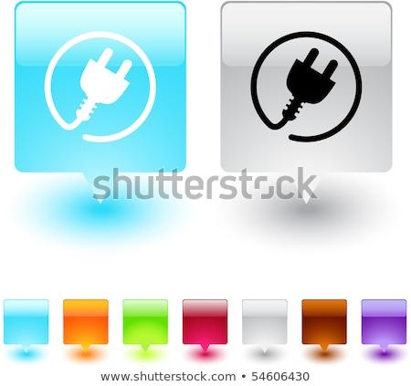 Plug icon on grey square button Stock photo © Imaagio