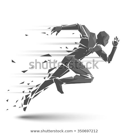 young man running vector illustration stock photo © rastudio