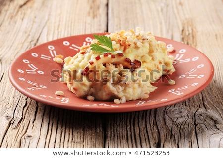 Krumpli hámozott árpa edény fából készült tányér Stock fotó © Digifoodstock