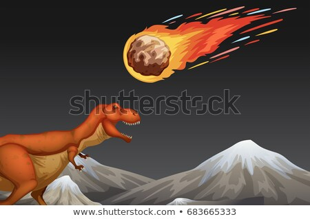 Dinosaur and meteror crashing earth Stock photo © bluering