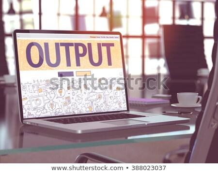 output   on laptop screen closeup 3d illustration stock photo © tashatuvango