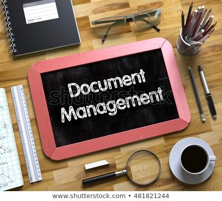 Document Management on Small Chalkboard. 3D Illustration. Stock photo © tashatuvango