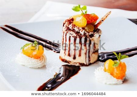 Sinaasappelen chocoladestroop houten chocolade dessert Stockfoto © Digifoodstock