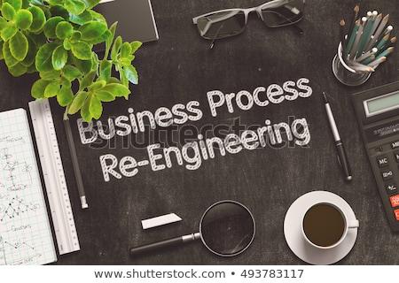 Stock fotó: Folyamat · mérnöki · fekete · tábla · 3D · renderelt · kép