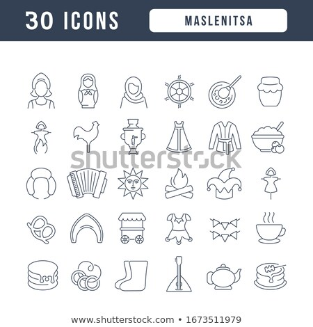 Maslenitsa Russian  icon in a linear Stock photo © Olena