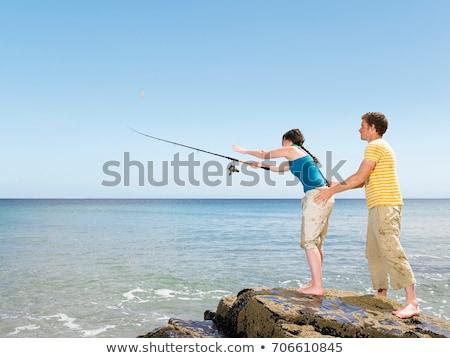 Paar vissen af rotsen man natuur Stockfoto © IS2
