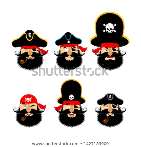 Pirate emoji head set. Filibuster sad and merry emotion face. Bu Stock photo © popaukropa