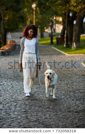 Shot mooie gezonde jonge dame lopen Stockfoto © deandrobot