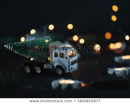 vintage toy truck and christmas tree stock photo © stephaniefrey