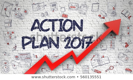 Development Plan 2017 Drawn on White Brick Wall.  Stock photo © tashatuvango