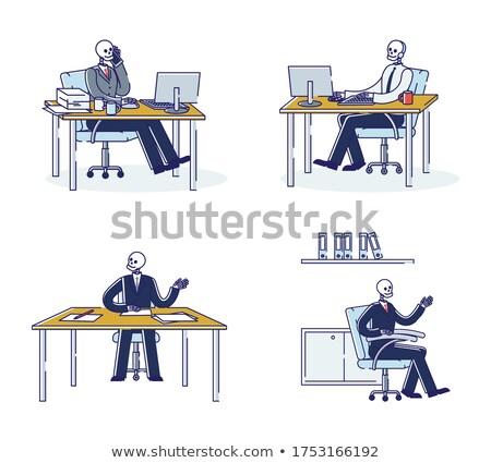 Stok fotoğraf: Zombie Businessman Isolated Boss Is Dead Vector Illustration