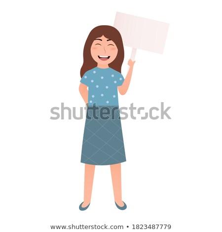 Kid Girl Placard Answer Stock photo © lenm