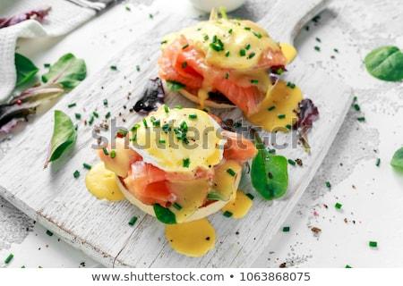 Ovos salmão estilo abacate cópia espaço alto Foto stock © Karaidel