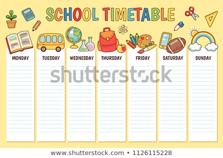 school · schema · week · kinderen · vector · sjabloon - stockfoto © vasilixa