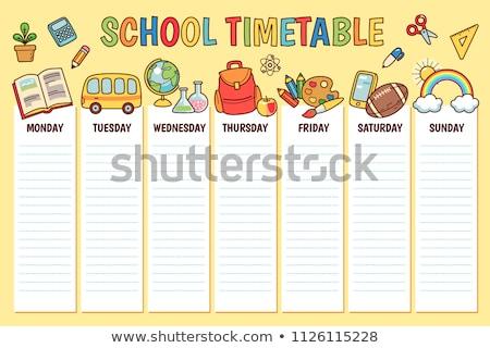 Minden nap iskola időbeosztás gyerekek vektor rajz Stock fotó © vasilixa