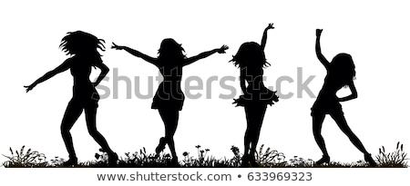 グランジ · ジャンプ · シルエット · ベクトル · 女性 · デザイン - ストックフォト © milsiart