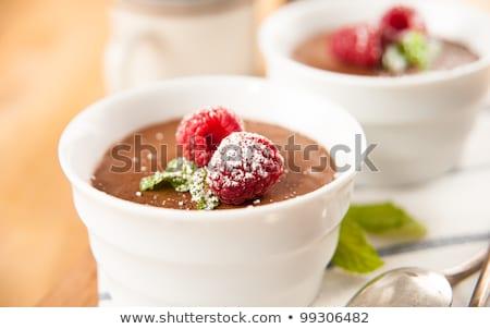 çikolatalı mus ahududu cam ev yapımı koyu çikolata yeşil Stok fotoğraf © mpessaris