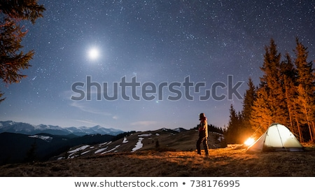 A Man Camping in Dark Forest Stock photo © bluering
