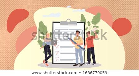 Cuestionario lupa desacuerdo mano vidrio informe Foto stock © devon