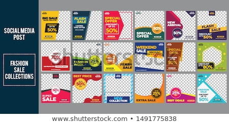 memphis style sale and discount banner set stock photo © sarts