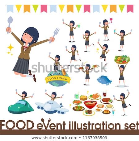Iskolás lány barna fesztivál szett étel események Stock fotó © toyotoyo