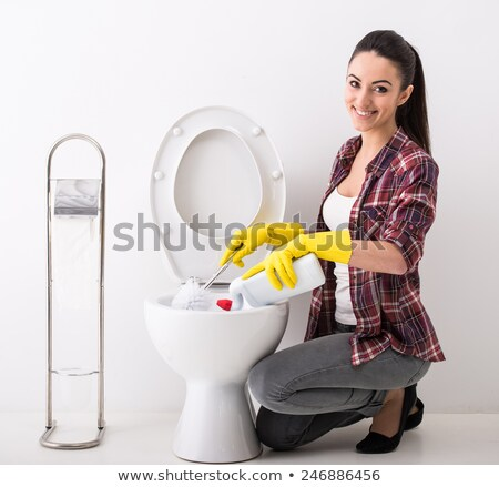 yellow rubber gloves and toilet bowl stock photo © ssuaphoto