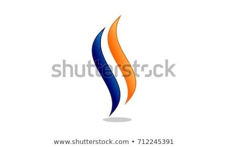 Blue Letter S Shaped Fire Icon Vector Illustration Stock photo © cidepix