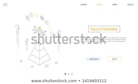 Multitasking - modern line design style vector illustration Stock photo © Decorwithme