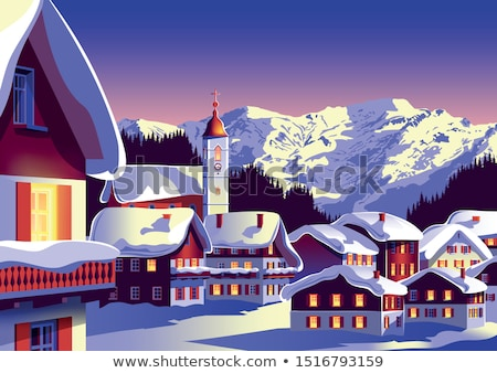 Navidad pueblo iglesia centro Foto stock © solarseven