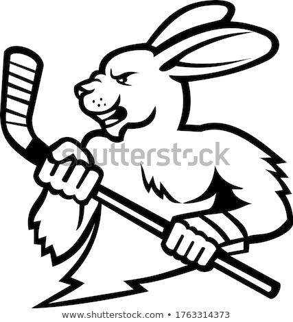 Jackrabbit Ice Hockey Player Mascot Stock photo © patrimonio